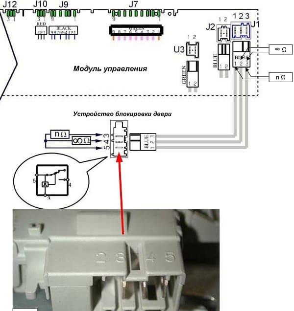 Принципиальная схема гнезда подключения УБЛ