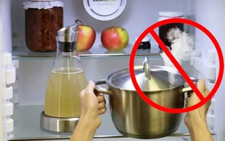 Не ставьте блюда, которые не остыли до комнатной температуры.